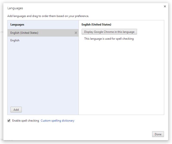 Google Chrome's Spell Checker window