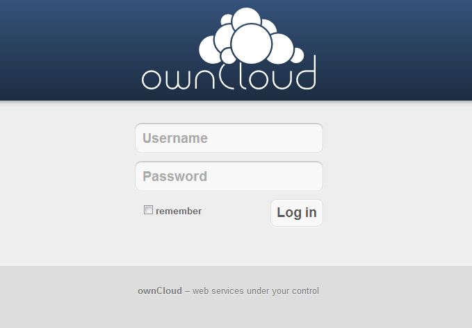 owncloud Welcome Screen