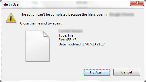 File in use - Windows 7