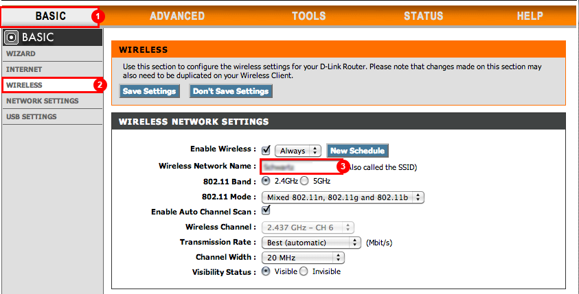 D-Link - Change wireless network name
