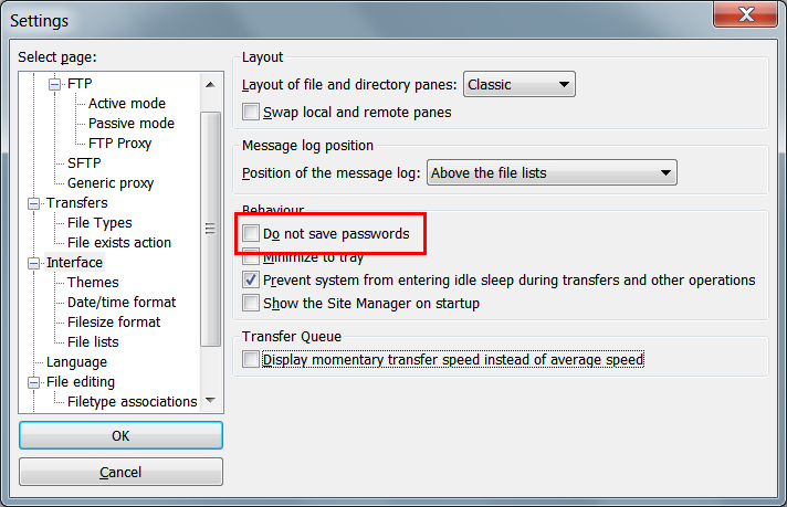 FileZilla - Save passwords option