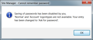 Filezilla: Site Manager Cannot remember password