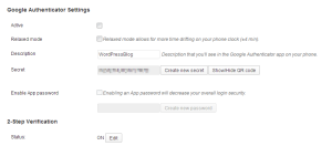 Google Authenticator Settings