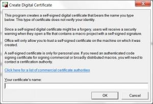 "Office 2013 ""Create Digital Certificate"" window"