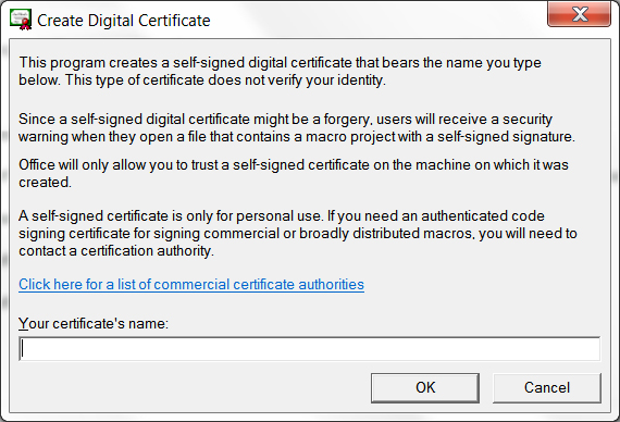 "Office 2013 ""Create Digital Certificate"" window"