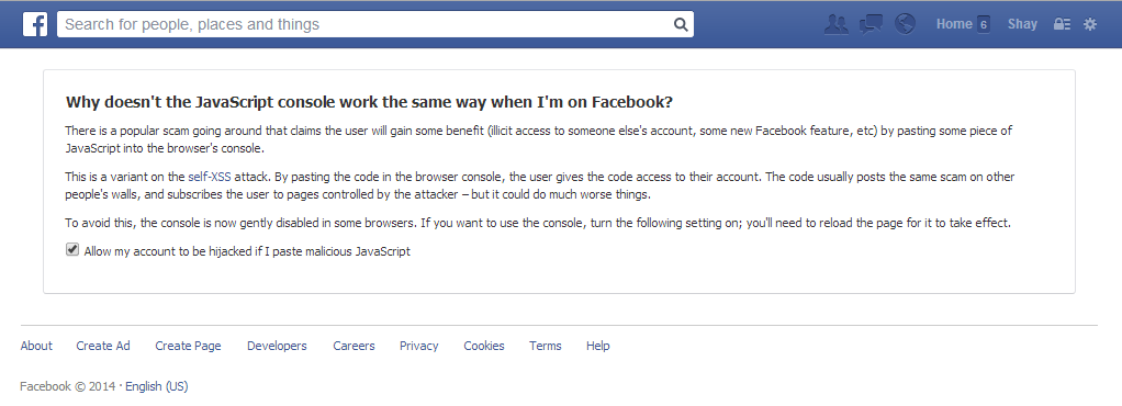 Facebook Self XSS message
