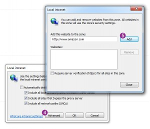 Windows 7 - add local intranet shared folder to zone