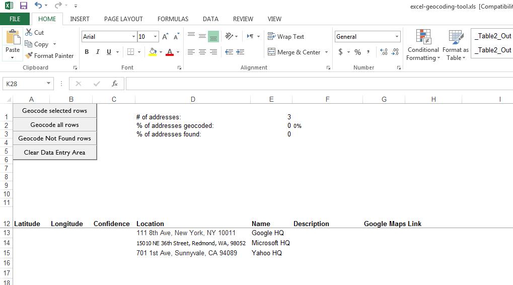 Batch Geocode Addresses Using Bing Maps API and an Excel