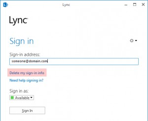 Lync - Delete my sign-in info