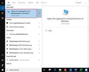 Adjust Windows Performance