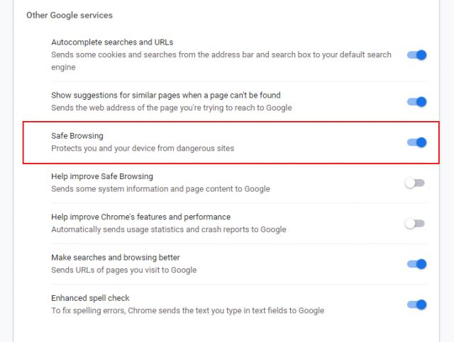 Google Chrome - Switch Off Safe Browsing